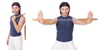 Śmieszny karate wojownik z nunchucks na bielu Zdjęcia Royalty Free