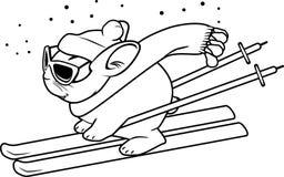 Śmieszny królik na nartach Obraz Royalty Free