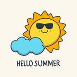 Śmieszny kreśli uśmiechnięty słońce i chmura Wektorowy kreskówki illustrati Zdjęcie Royalty Free