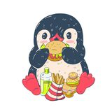 śmieszny kreskówka pingwin Zdjęcia Royalty Free