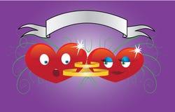 śmieszny kreskówki serce dwa Obrazy Stock
