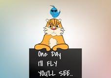 Śmieszny kreskówka kot, ptak i Obraz Royalty Free