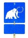 śmieszny mamutowy drogowego znaka symbol Zdjęcia Royalty Free