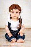 Śmieszny mały chłopiec pilot Fotografia Royalty Free