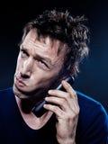 śmieszny mężczyzna telefonowania portret Obrazy Royalty Free