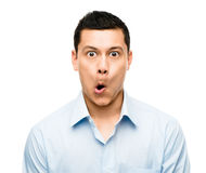Śmieszny szalony mężczyzna mieszający twarz biegowy latynos Zdjęcia Stock