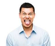 Śmieszny szalony mężczyzna mieszający twarz biegowy latynos Zdjęcie Stock