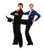 śmieszny tancerza przyjaciel jego mienia nogi samiec Obraz Royalty Free