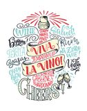 Śmieszny typografia plakat z wycena o winie, pisze list w butelce Obraz Royalty Free