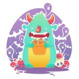 Śmieszny uśmiechnięty Halloweenowy puszysty potwora charakter Zdjęcia Stock