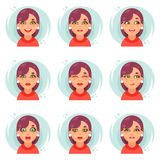 Śmiesznych emocj dziewczyny avatar śliczne ikony ustawiają płaską projekta wektoru ilustrację Obrazy Stock