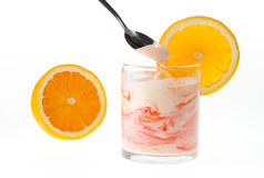 Śmietankowy jogurt Fotografia Royalty Free