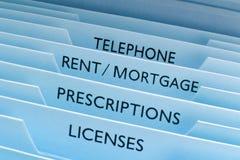 Miete-Hypotheken-Dateien Stockfotos