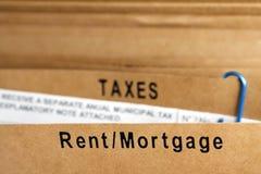 Miete-, mortgagage- und Steuerdatei Lizenzfreie Stockfotografie
