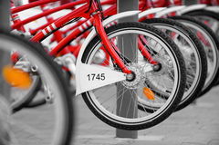 Mieten Sie ein Fahrrad Stockfotografie