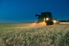 Mietitrebbiatrice che lavora al raccolto del grano alla notte Fotografia Stock