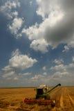 Mietitrebbiatrice moderna sul lavoro con cielo blu Fotografia Stock Libera da Diritti