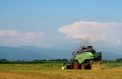 Mietitrebbiatrice su un giacimento di grano Fotografie Stock Libere da Diritti