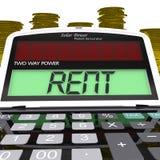 Miettaschenrechner bedeutet Zahlungen an Hauseigentümer Or Property Manager Lizenzfreie Stockbilder