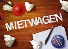 Mietwagen desktop memo calculator office think organize Stock Images