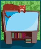 Miezekatze auf Fernsehapparat Lizenzfreie Stockfotos