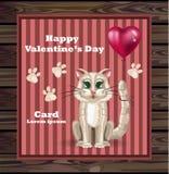 Miezekatze-Karte Vektor des Valentinstags netter Glücklicher Feiertag mit der Katze, die Illustrationen eines Ballons hält Stockfotografie