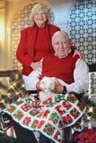 Miezekatze-liebende Senioren an der Weihnachtszeit Stockbilder
