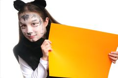 Miezekatze. Mädchen in einem Katzekostüm Stockbilder