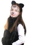 Miezekatze. Mädchen in einem Katzekostüm Stockbild