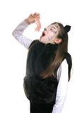 Miezekatze. Mädchen in einem Katzekostüm Stockfotografie