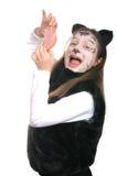 Miezekatze. Mädchen in einem Katzekostüm Lizenzfreie Stockfotos