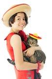 Miezekatze und ich bereit zu Cinco de Mayo Stockfotografie