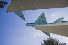 Mig-15 πολεμικό μνημείο αεροπλάνων σε Krasnodar Στοκ φωτογραφία με δικαίωμα ελεύθερης χρήσης
