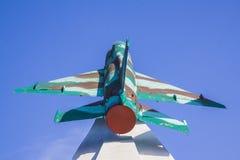 Mig-15 πολεμικό μνημείο αεροπλάνων σε Krasnodar Στοκ Φωτογραφίες
