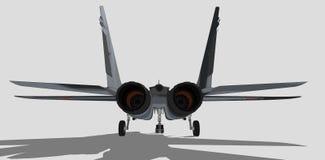 Mig 29, русский военный самолет, реактивный истребитель, эскиз Стоковое Изображение RF