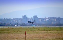 Mig 29喷气机着陆 库存照片
