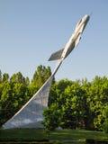 MiG19.纪念碑下落的飞行员。Krasny Luch。 免版税图库摄影