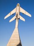 MiG19.纪念碑下落的飞行员。Krasny Luch。 免版税库存照片