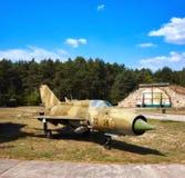 Mig 17,在一个老机场的一老俄国airplaine 库存图片