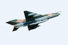 MiG 21 Aircraft. MiG 21 Soviet fighter aircraft isolated on white Royalty Free Stock Images