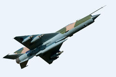 MiG 21 Aircraft. MiG 21 Soviet fighter aircraft isolated on white royalty free stock image