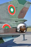MiG-21 FISHBED and old helmet Stock Photography