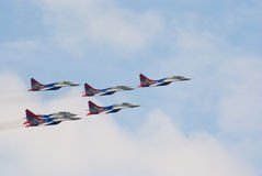 MiG-29 jets from Strizhi team Stock Images