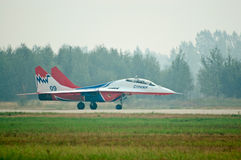 MiG-29 runs after landing Stock Photo