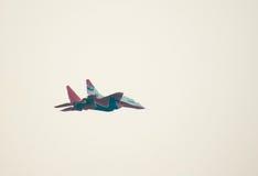 MiG-29 (Strizhi) demonstrates aerobatics. KUBINKA, RUSSIA - AUGUST 14: MiG-29 #09 from Strizhi squad demonstrates aerobatics during the celebration of 100th Stock Images