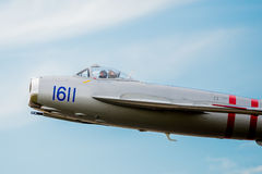 Mig-17 Close-up of Cockpit in Flight Stock Image