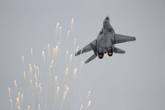 MiG-29 fighter jet flares Stock Image