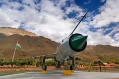 A MIG-21 fighter plane used by India in Kargil war 1999 , Operation Vijay. KARGIL, JAMMU AND KASHMIR / INDIA - SEPTEMBER 1ST, 2014 : MIG-21 fighter plane of royalty free stock images