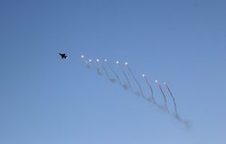 Mig 21 Flare Release Royalty Free Stock Photo