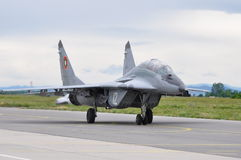 MiG-29 Fulcrum. A Bulgarian MiG-29 Fulcrum taxis down a ramp at an air base Stock Images